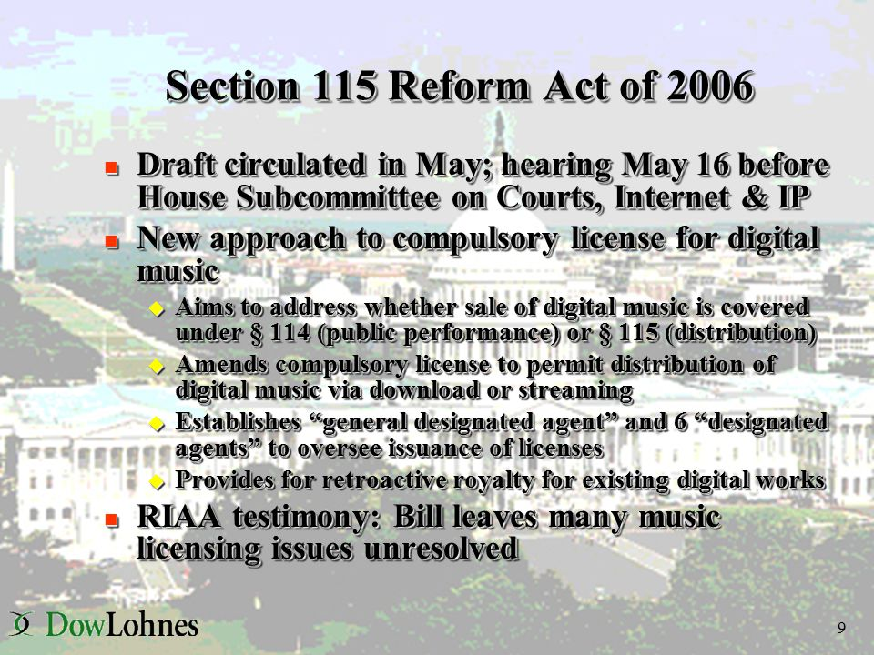 10 Consumer Competition & Broadband Promotion Act n Senate Democratic Staff working draft (May 24) n Would give FCC authority to implement broadcast flag u Fairly similar to Stevens Bill u Major difference - RAND issue n Also includes audio flag provision – different than Stevens: u Providers of digital audio devices must adopt technology to protect disaggregation and indiscriminate redistribution of content n Senate Democratic Staff working draft (May 24) n Would give FCC authority to implement broadcast flag u Fairly similar to Stevens Bill u Major difference - RAND issue n Also includes audio flag provision – different than Stevens: u Providers of digital audio devices must adopt technology to protect disaggregation and indiscriminate redistribution of content
