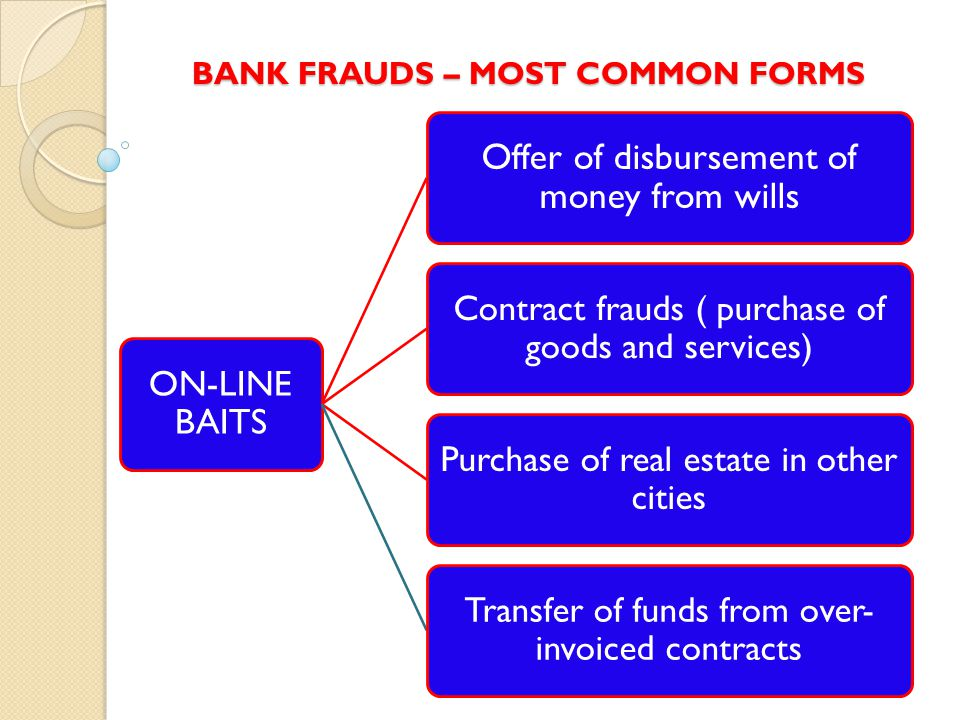 BANK FRAUDS – MOST COMMON FORMS ON-LINE BAITS Offer of disbursement of money from wills Contract frauds ( purchase of goods and services) Purchase of real estate in other cities Transfer of funds from over- invoiced contracts