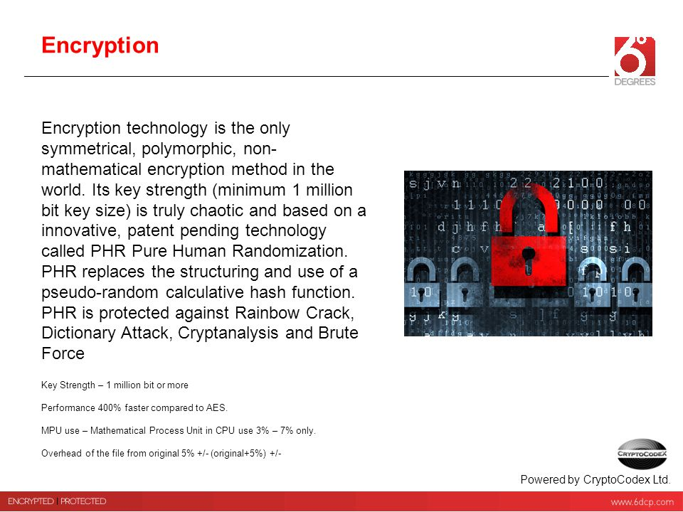 Encryption Encryption technology is the only symmetrical, polymorphic, non- mathematical encryption method in the world. Its key strength (minimum 1 m