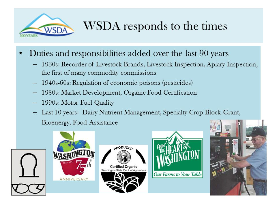 WSDA responds to the times Duties and responsibilities added over the last 90 years – 1930s: Recorder of Livestock Brands, Livestock Inspection, Apiary Inspection, the first of many commodity commissions – 1940s-60s: Regulation of economic poisons (pesticides) – 1980s: Market Development, Organic Food Certification – 1990s: Motor Fuel Quality – Last 10 years: Dairy Nutrient Management, Specialty Crop Block Grant, Bioenergy, Food Assistance