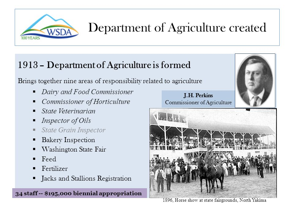 1913 – Department of Agriculture is formed Brings together nine areas of responsibility related to agriculture  Dairy and Food Commissioner  Commissioner of Horticulture  State Veterinarian  Inspector of Oils  State Grain Inspector  Bakery Inspection  Washington State Fair  Feed  Fertilizer  Jacks and Stallions Registration Department of Agriculture created 1896, Horse show at state fairgrounds, North Yakima J.H.
