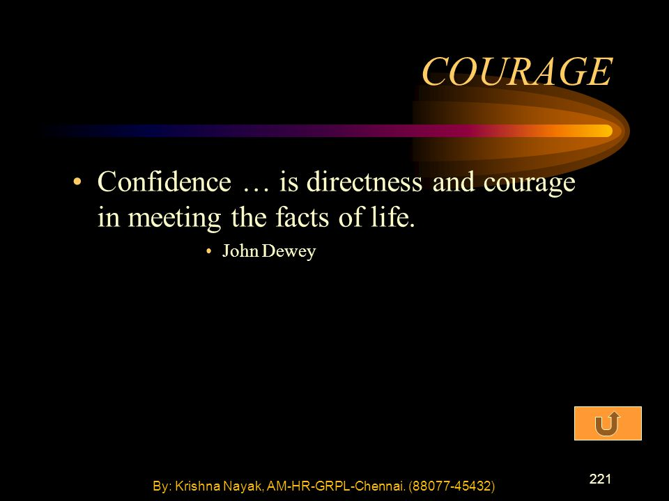 221 Confidence … is directness and courage in meeting the facts of life.