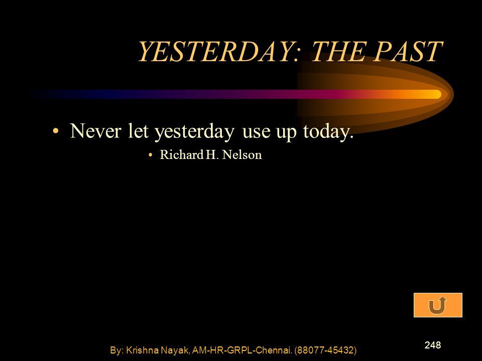 248 Never let yesterday use up today. Richard H. Nelson YESTERDAY: THE PAST By: Krishna Nayak, AM-HR-GRPL-Chennai. (88077-45432)