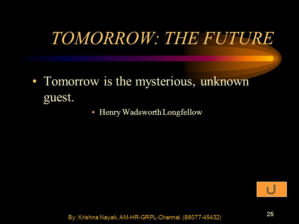 25 TOMORROW: THE FUTURE Tomorrow is the mysterious, unknown guest. Henry Wadsworth Longfellow By: Krishna Nayak, AM-HR-GRPL-Chennai. (88077-45432)
