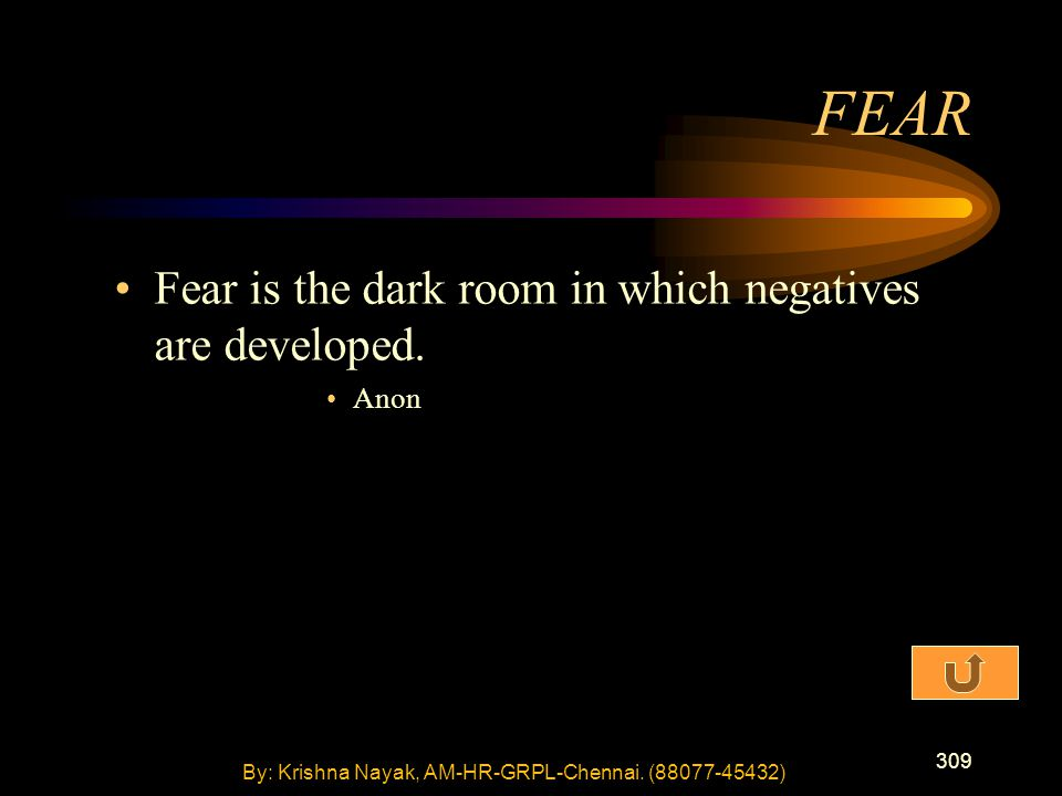 309 Fear is the dark room in which negatives are developed.