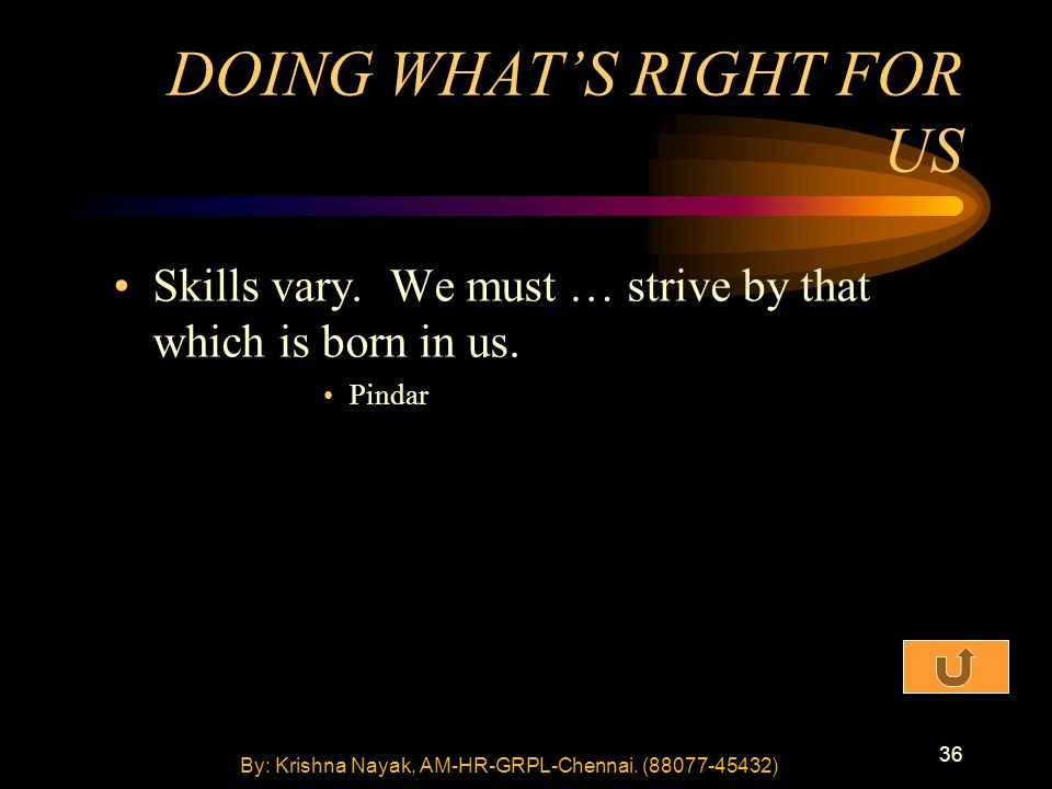 36 Skills vary. We must … strive by that which is born in us. Pindar DOING WHAT'S RIGHT FOR US By: Krishna Nayak, AM-HR-GRPL-Chennai. (88077-45432)