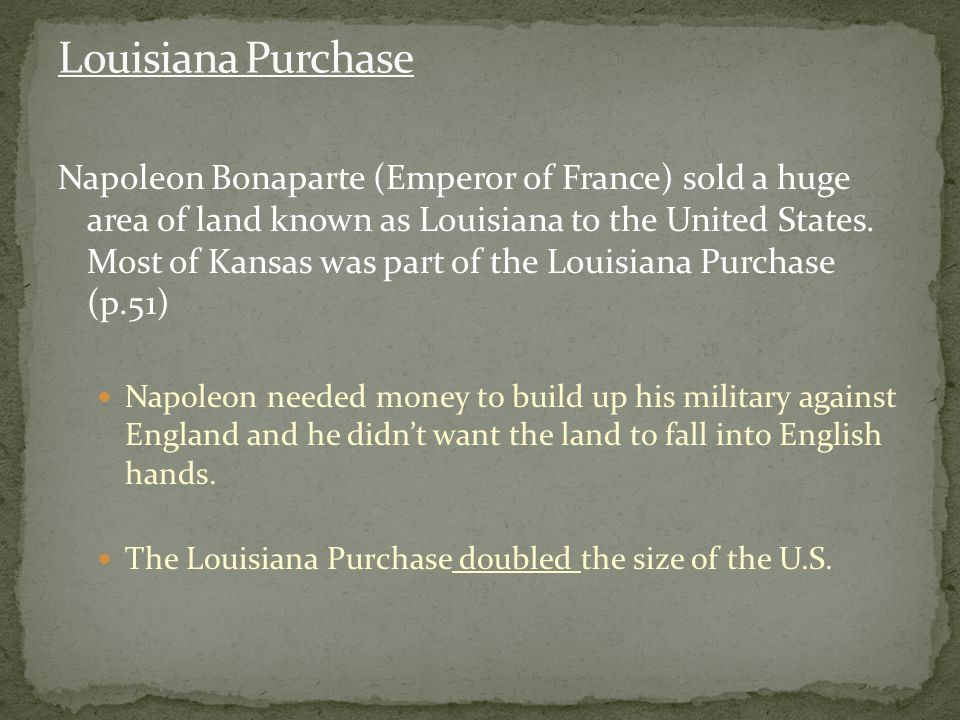 Napoleon Bonaparte (Emperor of France) sold a huge area of land known as Louisiana to the United States.
