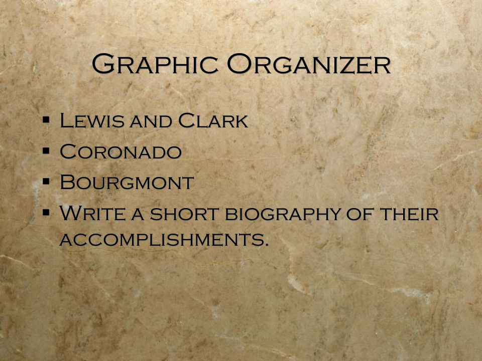 Graphic Organizer  Lewis and Clark  Coronado  Bourgmont  Write a short biography of their accomplishments.