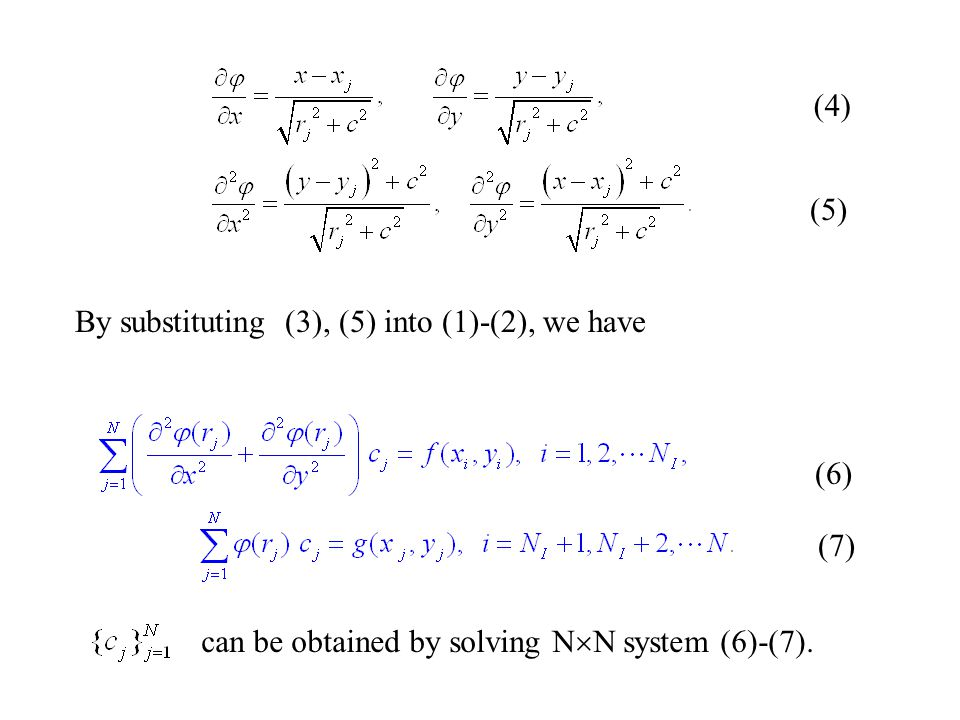2015/4/3015 (4) (5) By substituting (3), (5) into (1)-(2), we have (6) (7) can be obtained by solving N  N system (6)-(7).