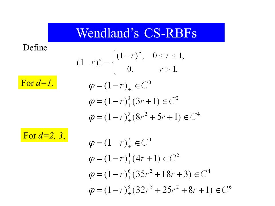 2015/4/308 Wendland's CS-RBFs Define For d=1, For For For d=2, 3,