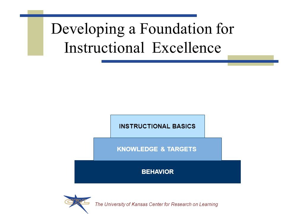The University of Kansas Center for Research on Learning Developing a Foundation for Instructional Excellence BEHAVIOR KNOWLEDGE & TARGETS INSTRUCTIONAL BASICS