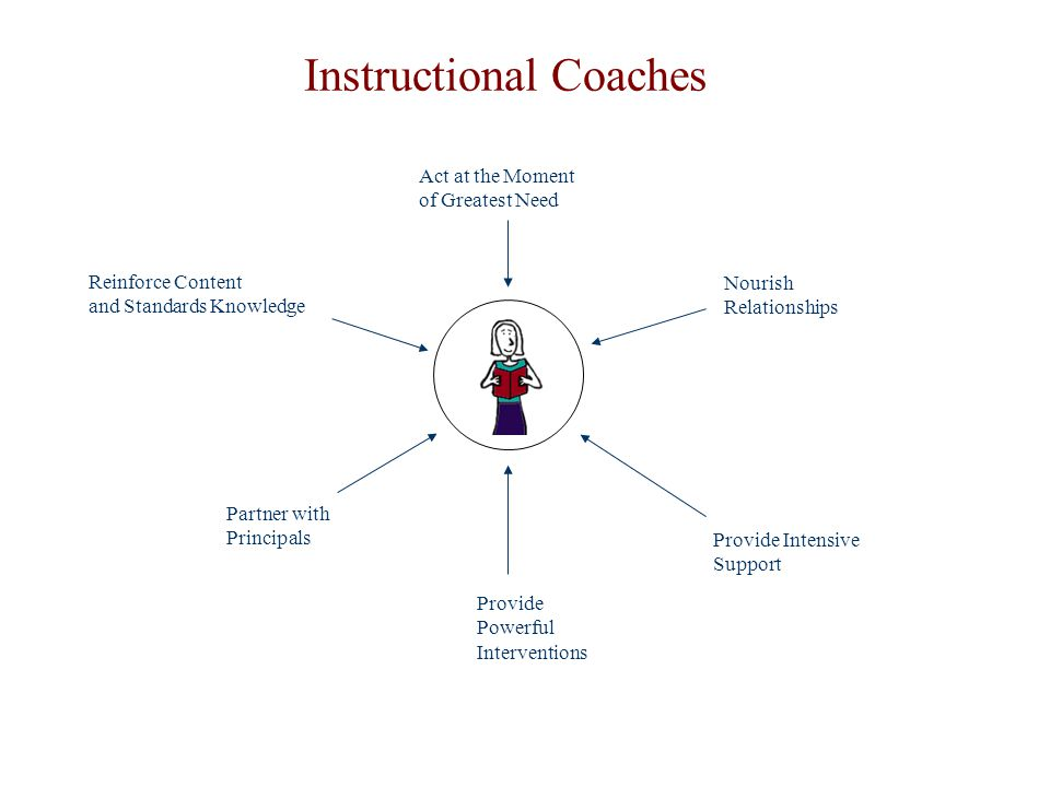 Reinforce Content and Standards Knowledge Act at the Moment of Greatest Need Nourish Relationships Provide Intensive Support Provide Powerful Interventions Partner with Principals Instructional Coaches