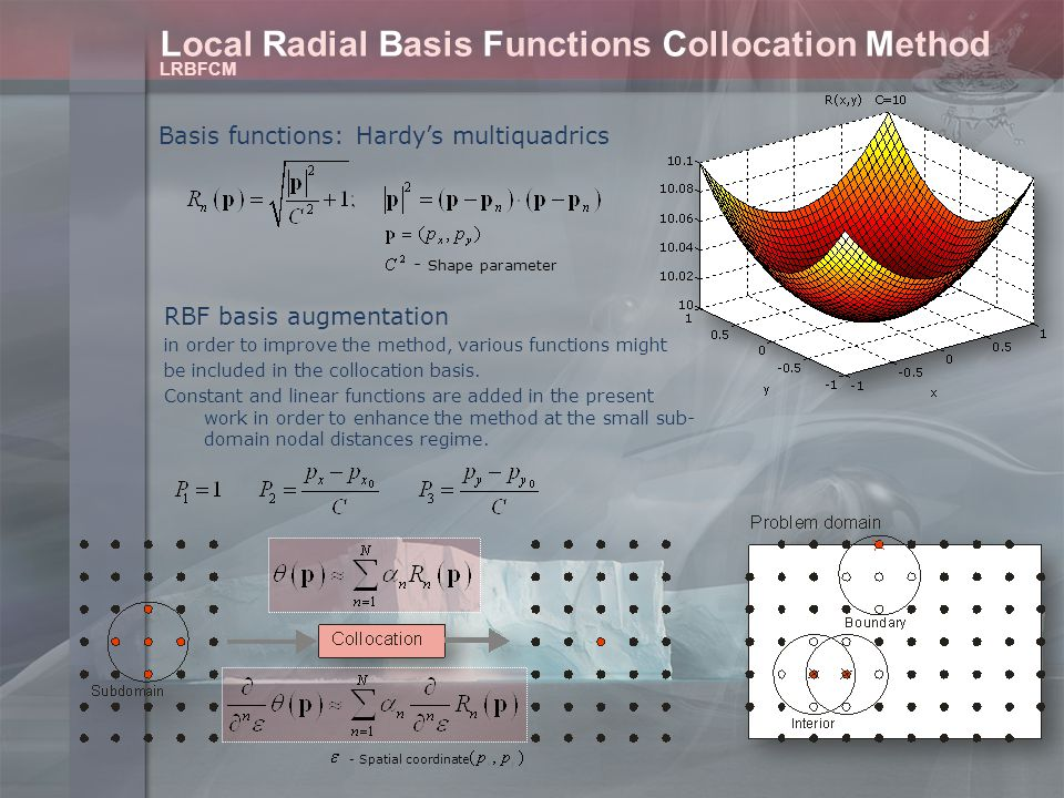 Local Radial Basis Functions Collocation Method Basis functions: Hardy's multiquadrics LRBFCM RBF basis augmentation in order to improve the method, various functions might be included in the collocation basis.