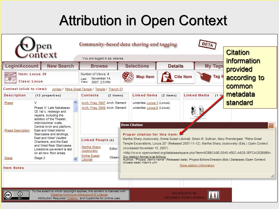 Attribution in Open Context Citation information provided according to common metadata standard