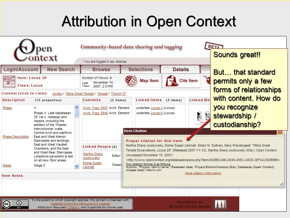 Attribution in Open Context Sounds great!! But… that standard permits only a few forms of relationships with content. How do you recognize stewardship