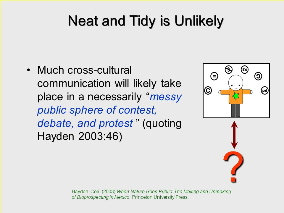 """Neat and Tidy is Unlikely Much cross-cultural communication will likely take place in a necessarily """"messy public sphere of contest, debate, and prote"""