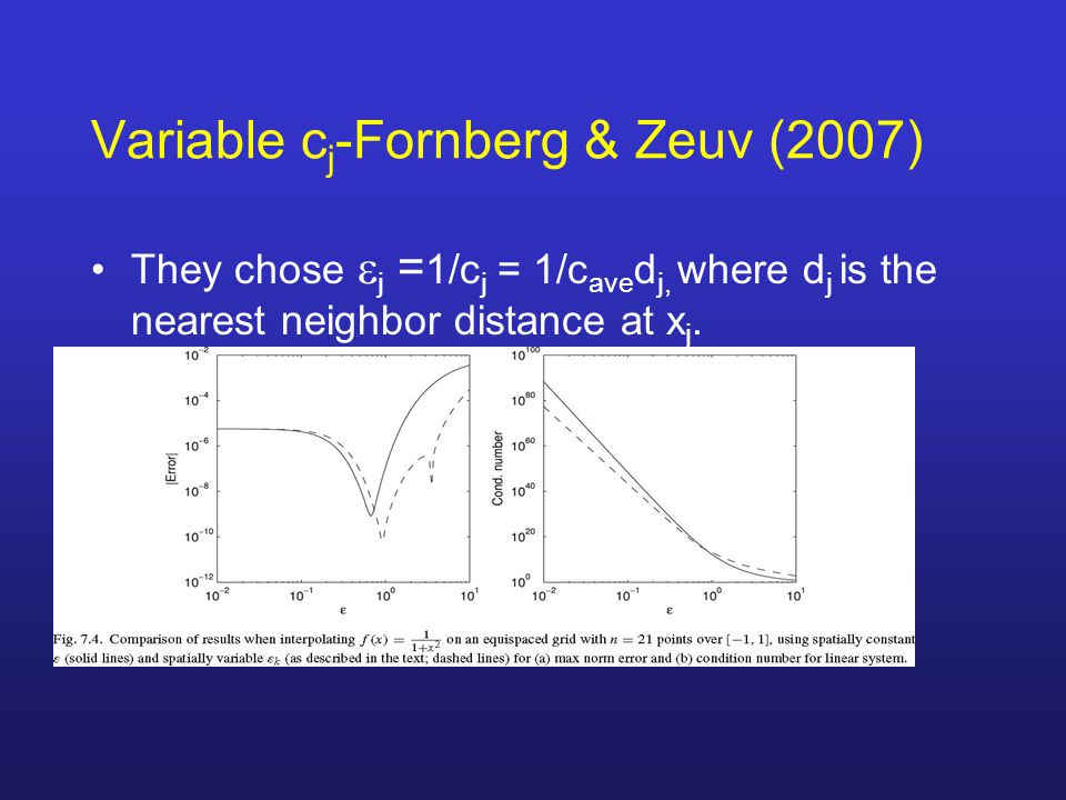 Variable c j -Fornberg & Zeuv (2007) They chose  j = 1/c j = 1/c ave d j, where d j is the nearest neighbor distance at x j.