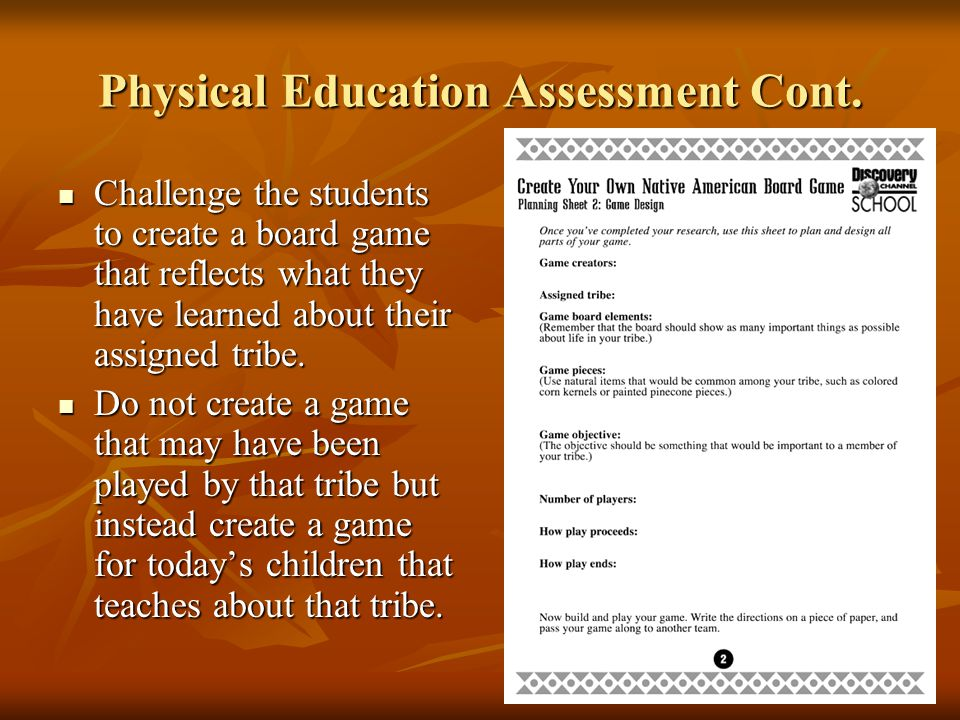 Physical Education Assessment Cont.