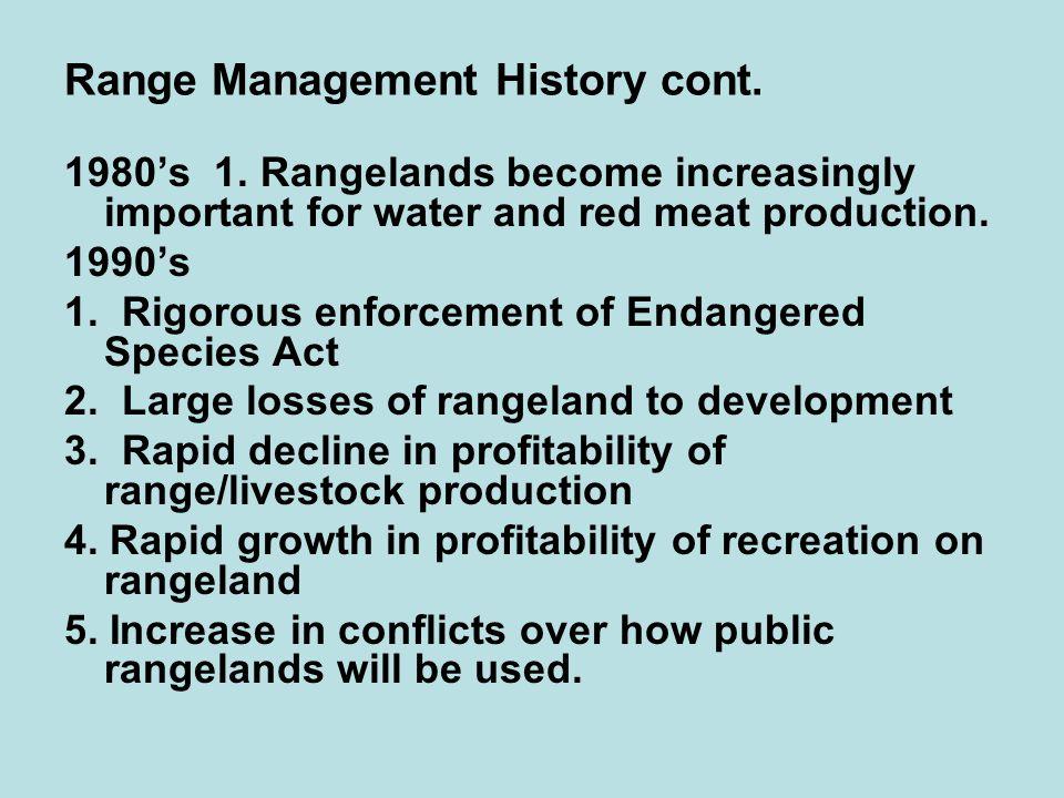 Range Management History cont. 1980's 1.