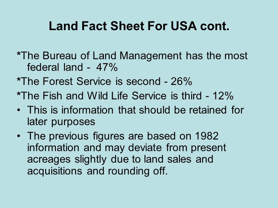 Land Fact Sheet For USA cont.