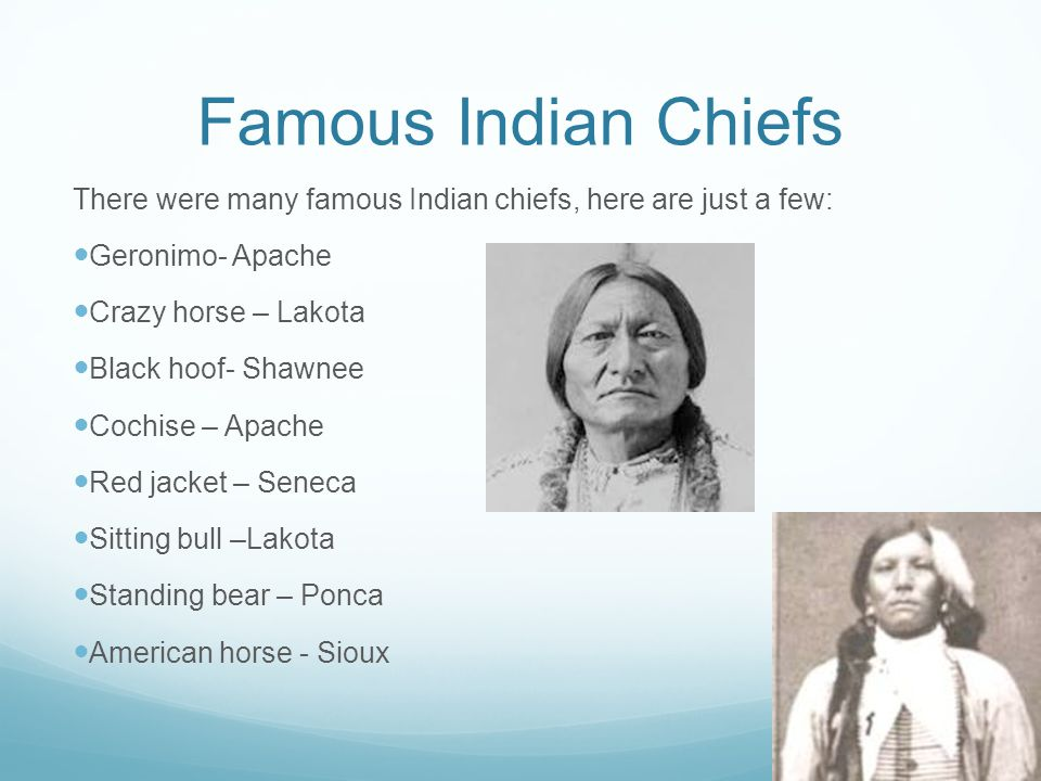 Famous Indian Chiefs There were many famous Indian chiefs, here are just a few: Geronimo- Apache Crazy horse – Lakota Black hoof- Shawnee Cochise – Apache Red jacket – Seneca Sitting bull –Lakota Standing bear – Ponca American horse - Sioux