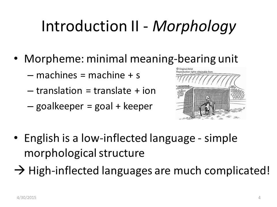 Introduction II - Morphology Morpheme: minimal meaning-bearing unit – machines = machine + s – translation = translate + ion – goalkeeper = goal + kee