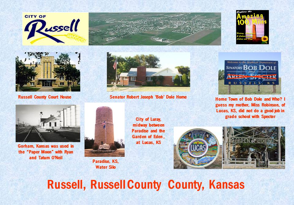 """Russell, Russell County County, Kansas Russell County Court House Gorham, Kansas was used in the """"Paper Moon"""" with Ryan and Tatum O'Neil Senator Rober"""