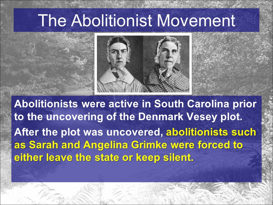 The Abolitionist Movement Abolitionists were active in South Carolina prior to the uncovering of the Denmark Vesey plot.