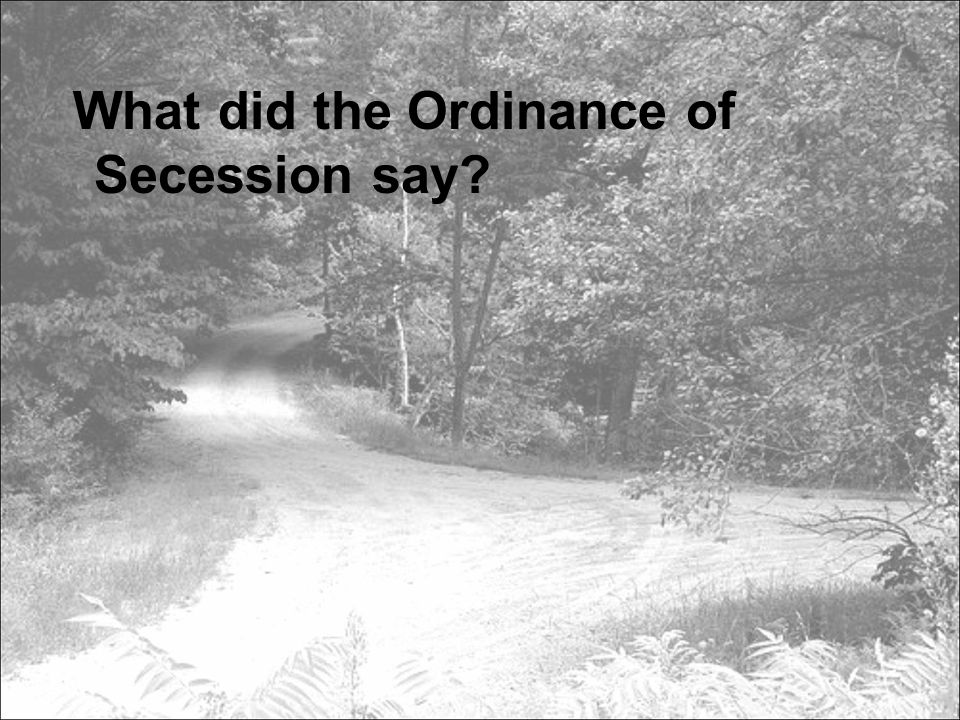 What did the Ordinance of Secession say?
