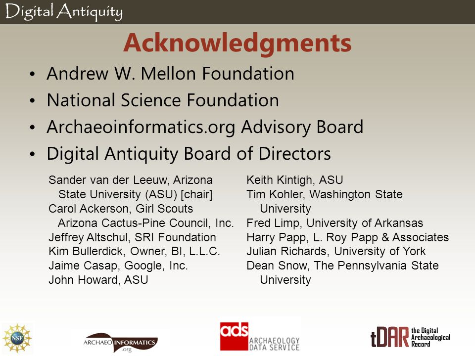Digital Antiquity Acknowledgments Andrew W.