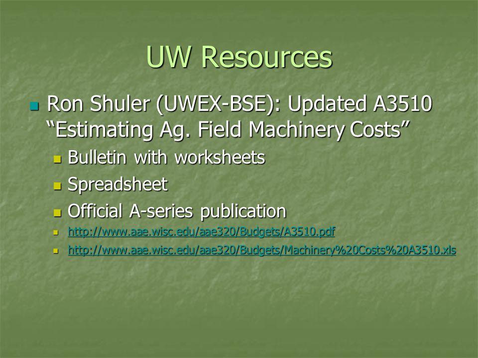 "UW Resources Ron Shuler (UWEX-BSE): Updated A3510 ""Estimating Ag. Field Machinery Costs"" Ron Shuler (UWEX-BSE): Updated A3510 ""Estimating Ag. Field Ma"