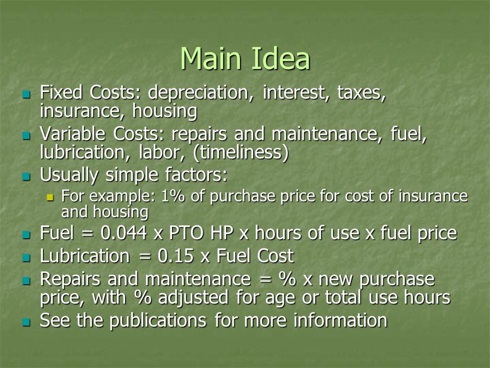 Main Idea Fixed Costs: depreciation, interest, taxes, insurance, housing Fixed Costs: depreciation, interest, taxes, insurance, housing Variable Costs