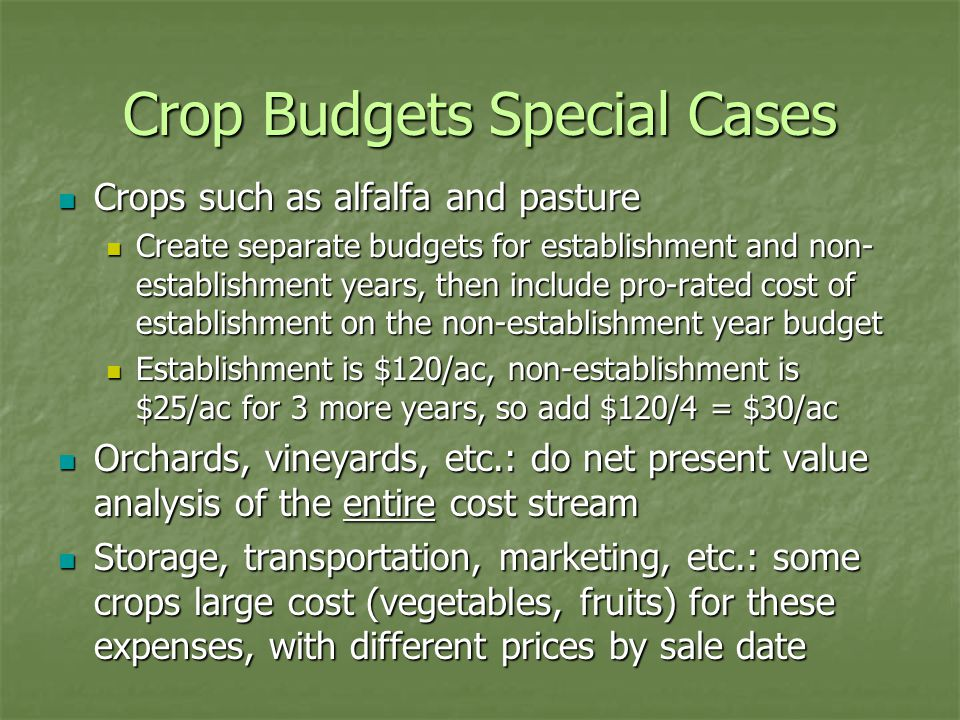 Crop Budgets Special Cases Crops such as alfalfa and pasture Crops such as alfalfa and pasture Create separate budgets for establishment and non- establishment years, then include pro-rated cost of establishment on the non-establishment year budget Create separate budgets for establishment and non- establishment years, then include pro-rated cost of establishment on the non-establishment year budget Establishment is $120/ac, non-establishment is $25/ac for 3 more years, so add $120/4 = $30/ac Establishment is $120/ac, non-establishment is $25/ac for 3 more years, so add $120/4 = $30/ac Orchards, vineyards, etc.: do net present value analysis of the entire cost stream Orchards, vineyards, etc.: do net present value analysis of the entire cost stream Storage, transportation, marketing, etc.: some crops large cost (vegetables, fruits) for these expenses, with different prices by sale date Storage, transportation, marketing, etc.: some crops large cost (vegetables, fruits) for these expenses, with different prices by sale date
