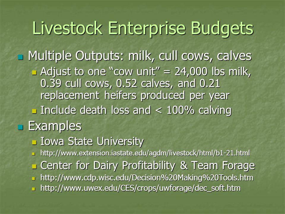 "Livestock Enterprise Budgets Multiple Outputs: milk, cull cows, calves Multiple Outputs: milk, cull cows, calves Adjust to one ""cow unit"" = 24,000 lbs"
