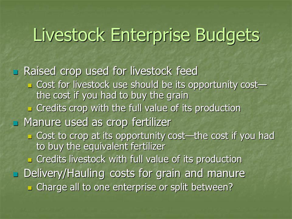 Livestock Enterprise Budgets Raised crop used for livestock feed Raised crop used for livestock feed Cost for livestock use should be its opportunity