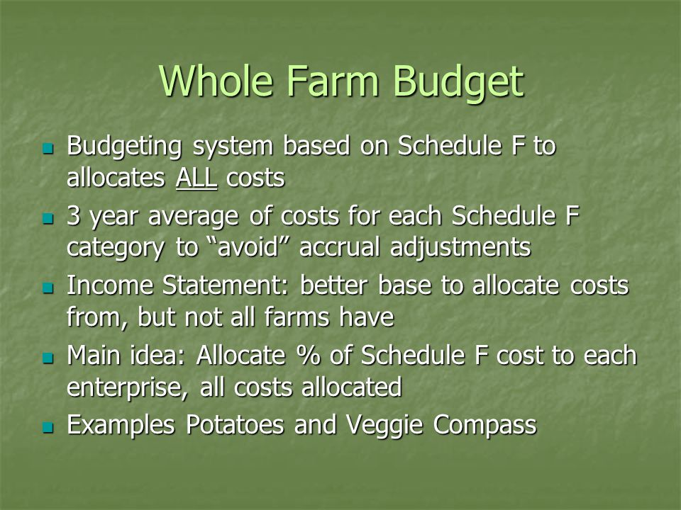Whole Farm Budget Budgeting system based on Schedule F to allocates ALL costs Budgeting system based on Schedule F to allocates ALL costs 3 year avera
