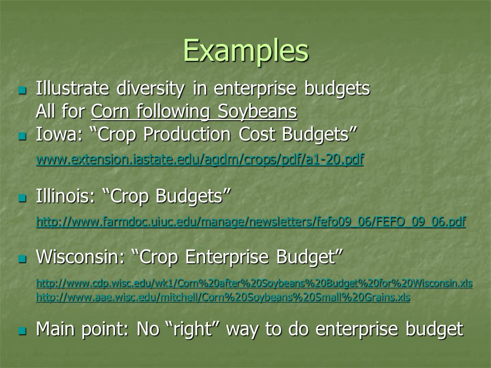 """Examples Illustrate diversity in enterprise budgets Illustrate diversity in enterprise budgets All for Corn following Soybeans Iowa: """"Crop Production"""