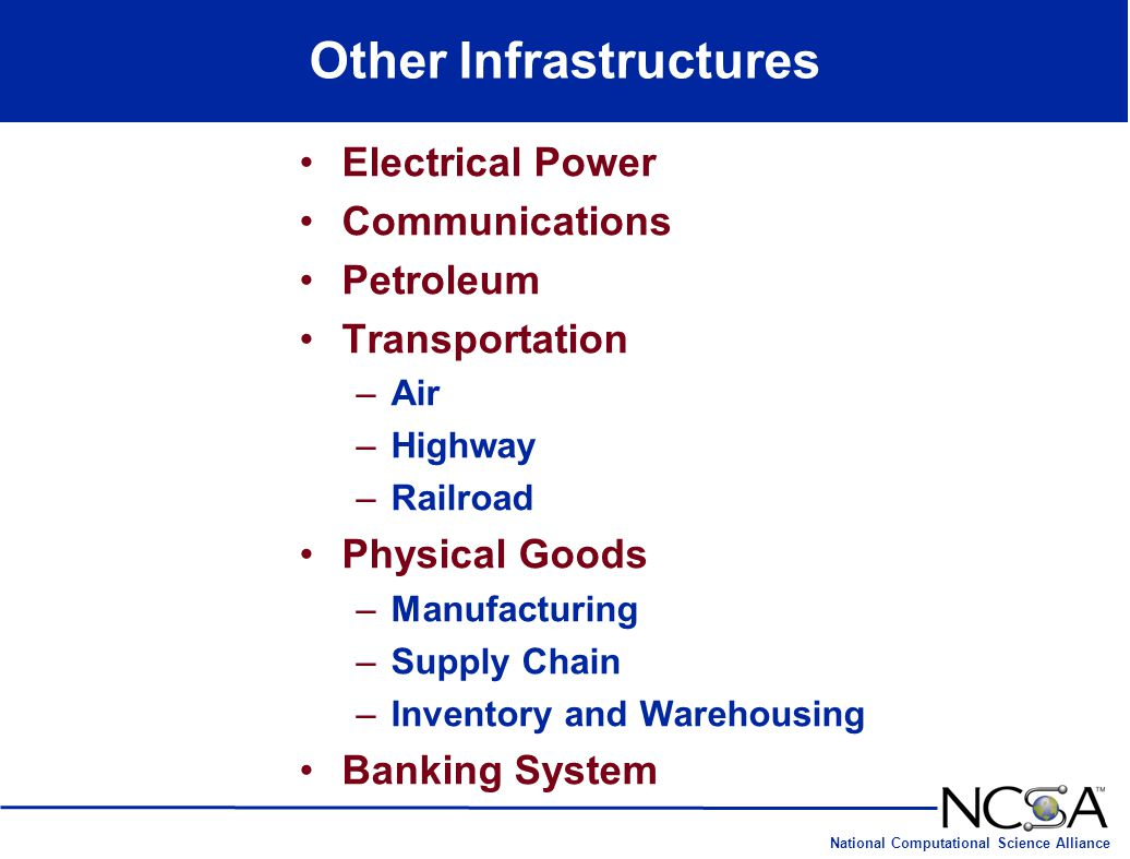 National Computational Science Alliance Other Infrastructures Electrical Power Communications Petroleum Transportation –Air –Highway –Railroad Physica