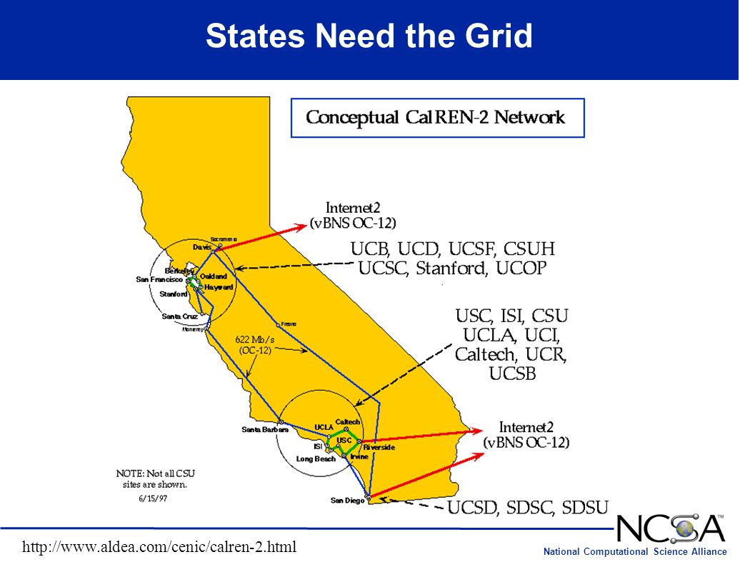 National Computational Science Alliance States Need the Grid http://www.aldea.com/cenic/calren-2.html