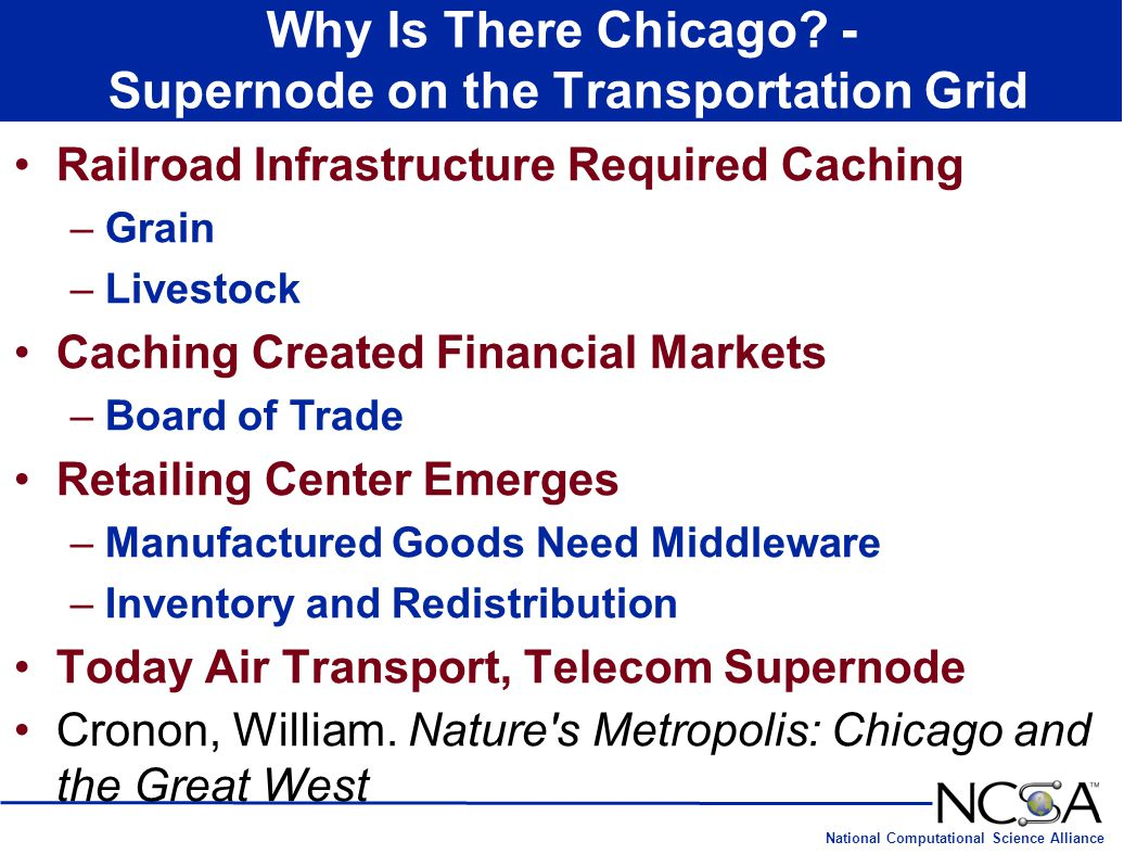 National Computational Science Alliance Why Is There Chicago? - Supernode on the Transportation Grid Railroad Infrastructure Required Caching –Grain –