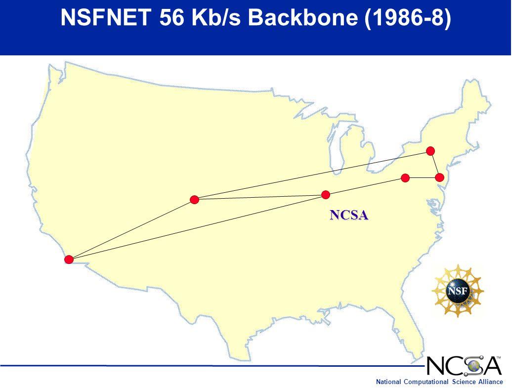 National Computational Science Alliance NSFNET 56 Kb/s Backbone (1986-8) NCSA