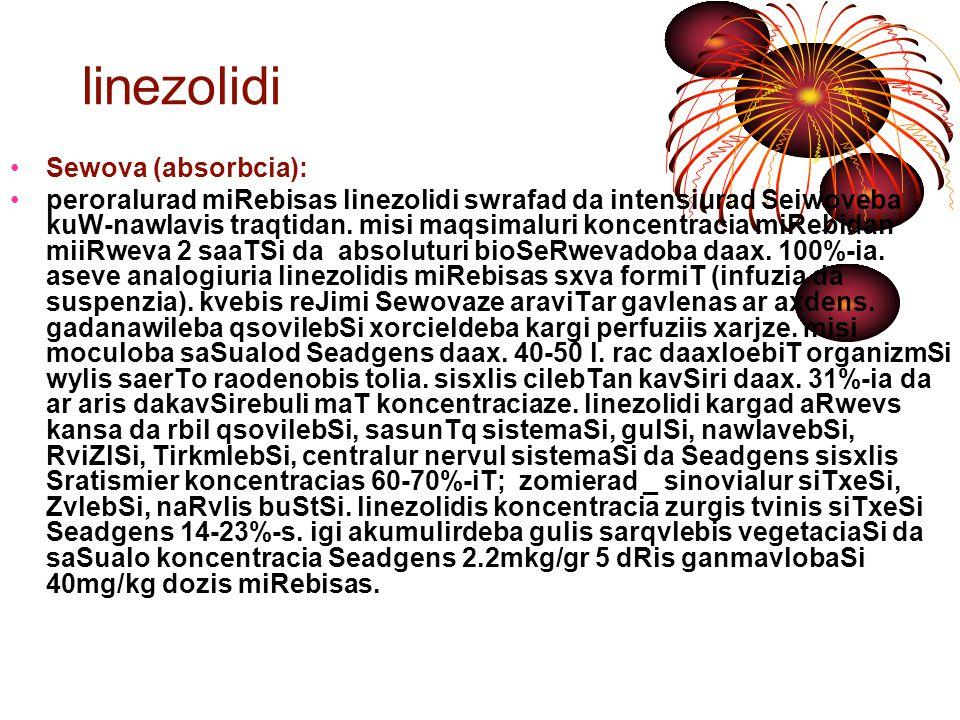 linezolidi Cveneba linezolidi gamoiyeneba iseTi mikroorganizmebiT gamowveuli infeqciebis dros, romlebic mocemulia z/a cxrilSi, anu, rodesac cnobilia daavadebis gamomwvevi linezolidze mgrZnobiare mikroorganizmebi: anaerobuli da aerobuli gramdadebiTi, maT Soris baqteriemiiT gamowveuli infeqciebis drosac.