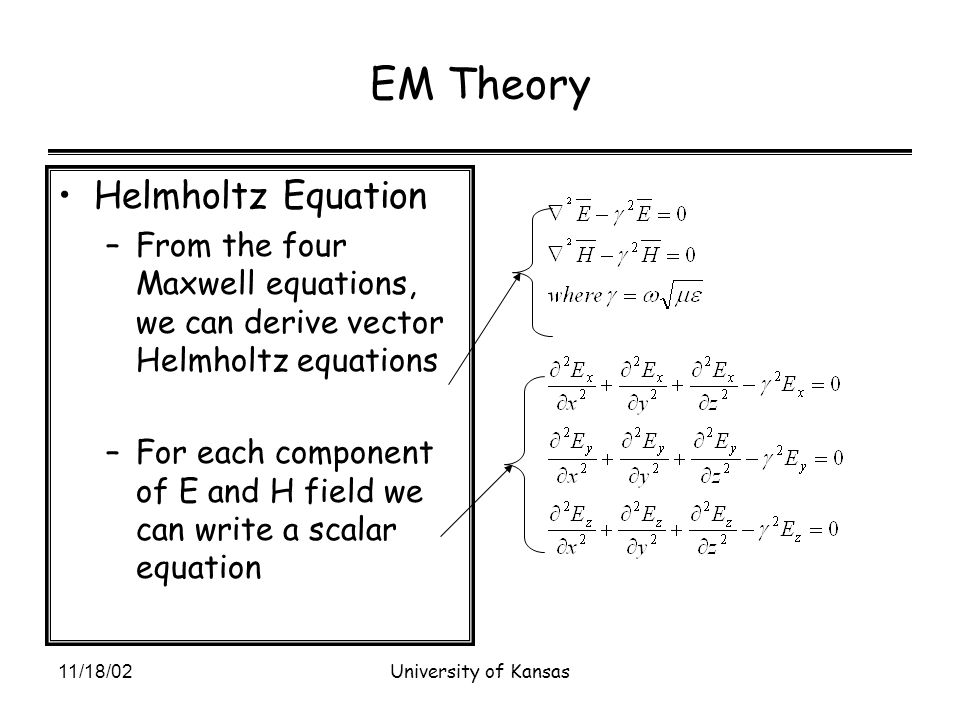 11/18/02University of Kansas EM Theory Helmholtz Equation –From the four Maxwell equations, we can derive vector Helmholtz equations –For each component of E and H field we can write a scalar equation