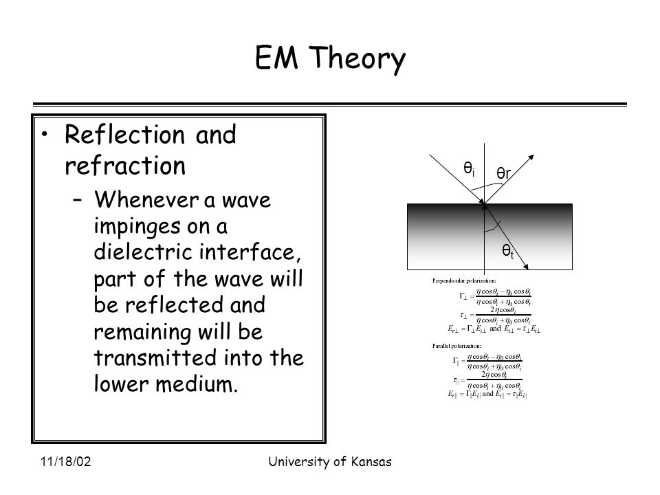 11/18/02University of Kansas EM Theory Reflection and refraction –Whenever a wave impinges on a dielectric interface, part of the wave will be reflected and remaining will be transmitted into the lower medium.