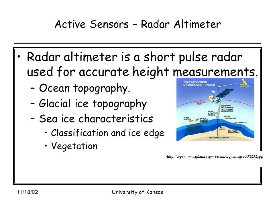 11/18/02University of Kansas Active Sensors – Radar Altimeter Radar altimeter is a short pulse radar used for accurate height measurements.