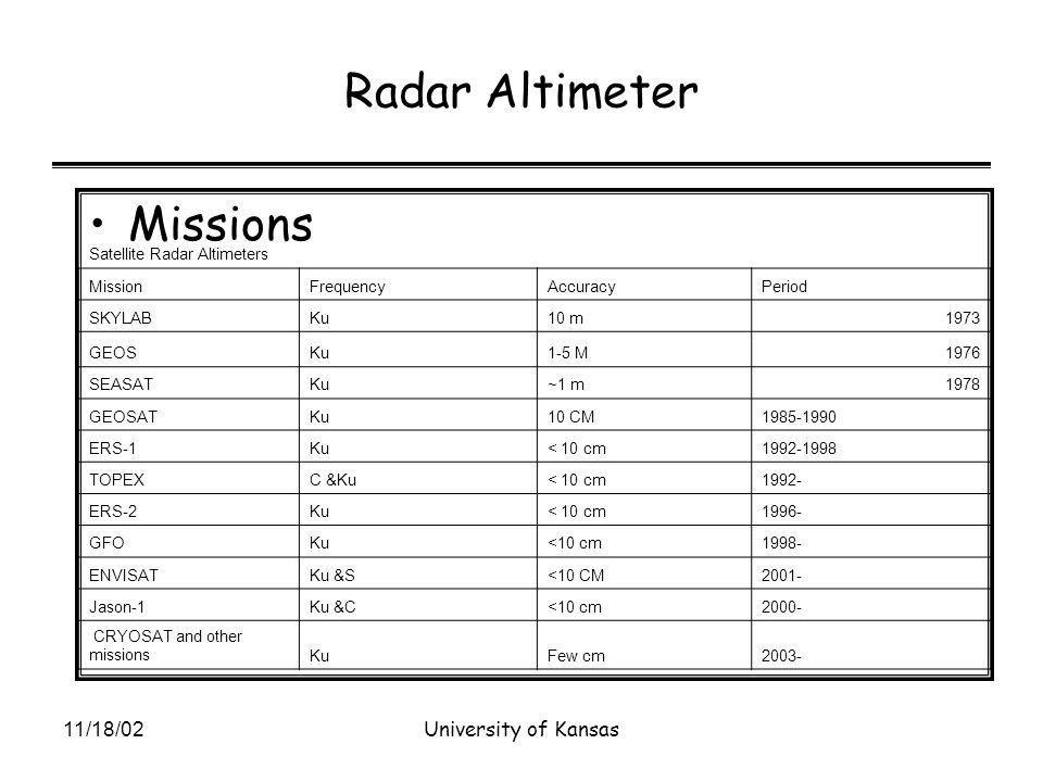 11/18/02University of Kansas Radar Altimeter Missions Satellite Radar Altimeters MissionFrequencyAccuracyPeriod SKYLABKu10 m1973 GEOSKu1-5 M1976 SEASATKu~1 m1978 GEOSATKu10 CM1985-1990 ERS-1Ku< 10 cm1992-1998 TOPEXC &Ku< 10 cm1992- ERS-2Ku< 10 cm1996- GFOKu<10 cm1998- ENVISATKu &S<10 CM2001- Jason-1Ku &C<10 cm2000- CRYOSAT and other missionsKuFew cm2003-