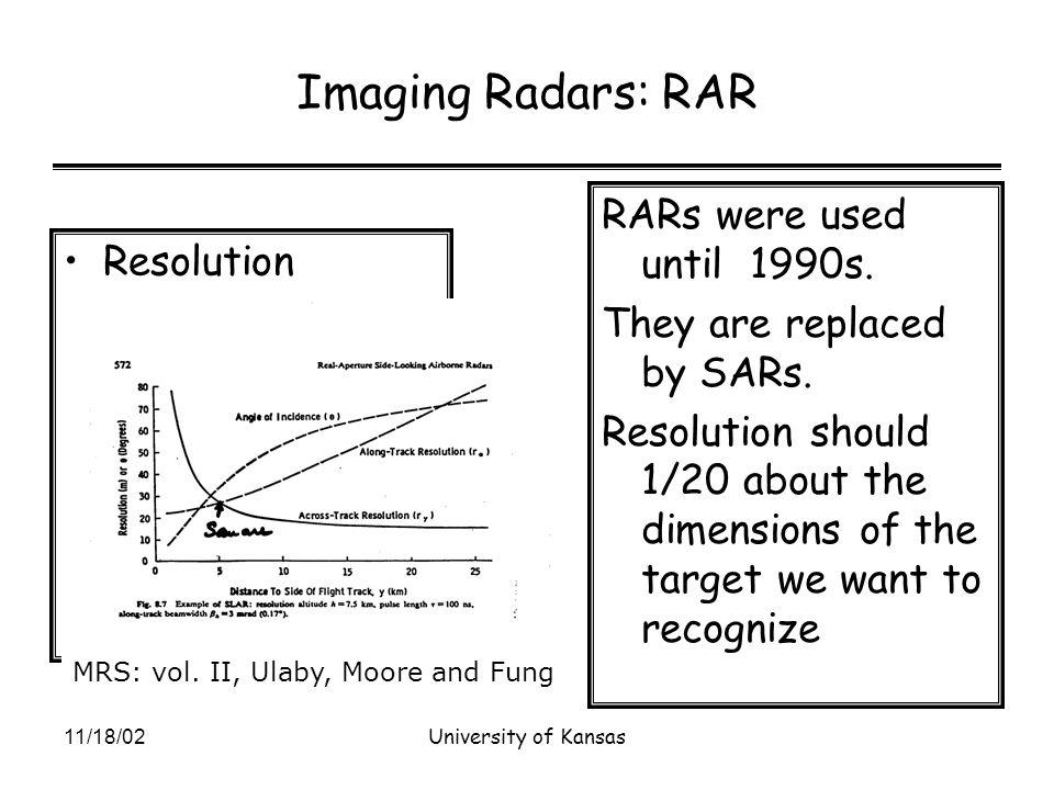 11/18/02University of Kansas Imaging Radars: RAR Resolution RARs were used until 1990s.