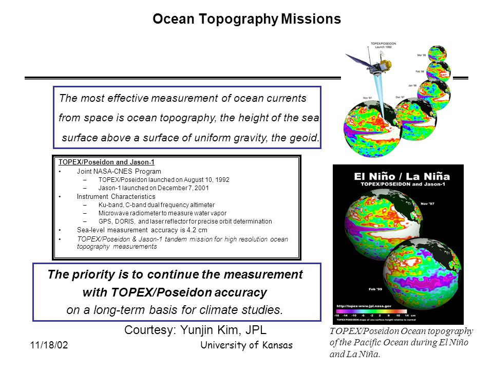 11/18/02University of Kansas Ocean Topography Missions TOPEX/Poseidon and Jason-1 Joint NASA-CNES Program –TOPEX/Poseidon launched on August 10, 1992 –Jason-1 launched on December 7, 2001 Instrument Characteristics –Ku-band, C-band dual frequency altimeter –Microwave radiometer to measure water vapor –GPS, DORIS, and laser reflector for precise orbit determination Sea-level measurement accuracy is 4.2 cm TOPEX/Poseidon & Jason-1 tandem mission for high resolution ocean topography measurements TOPEX/Poseidon Ocean topography of the Pacific Ocean during El Niño and La Niña.