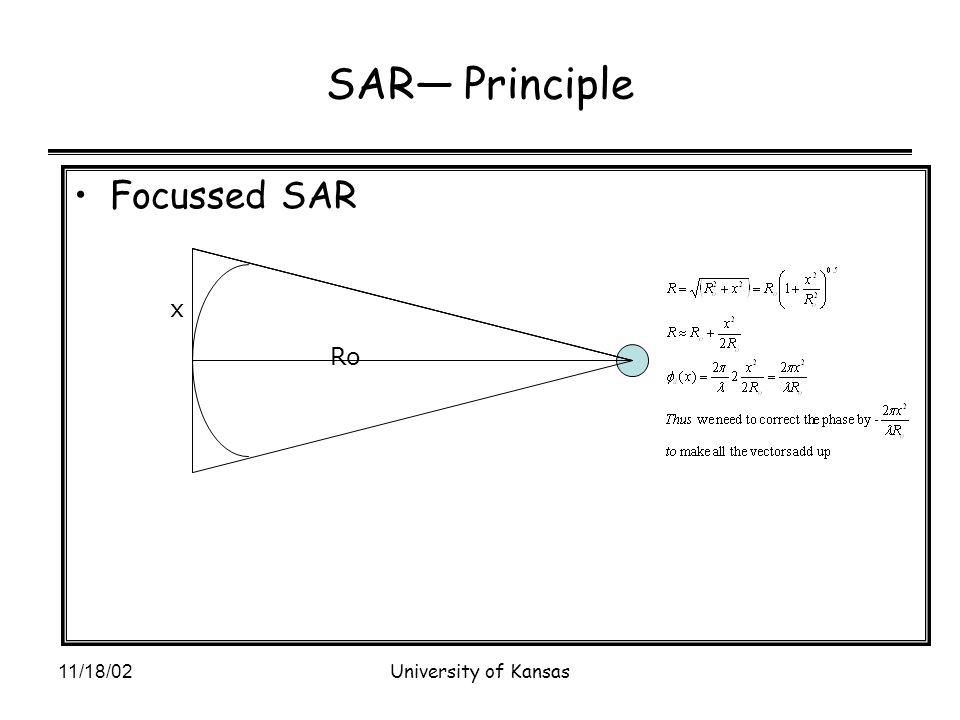 11/18/02University of Kansas SAR— Principle Focussed SAR Ro x
