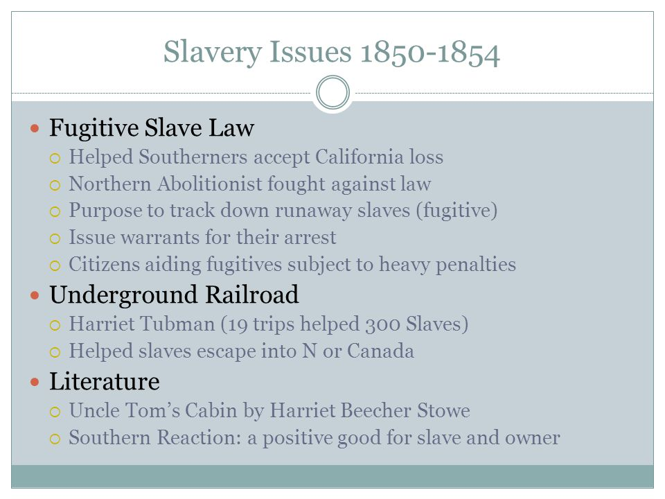 Slavery Issues 1850-1854 Fugitive Slave Law  Helped Southerners accept California loss  Northern Abolitionist fought against law  Purpose to track